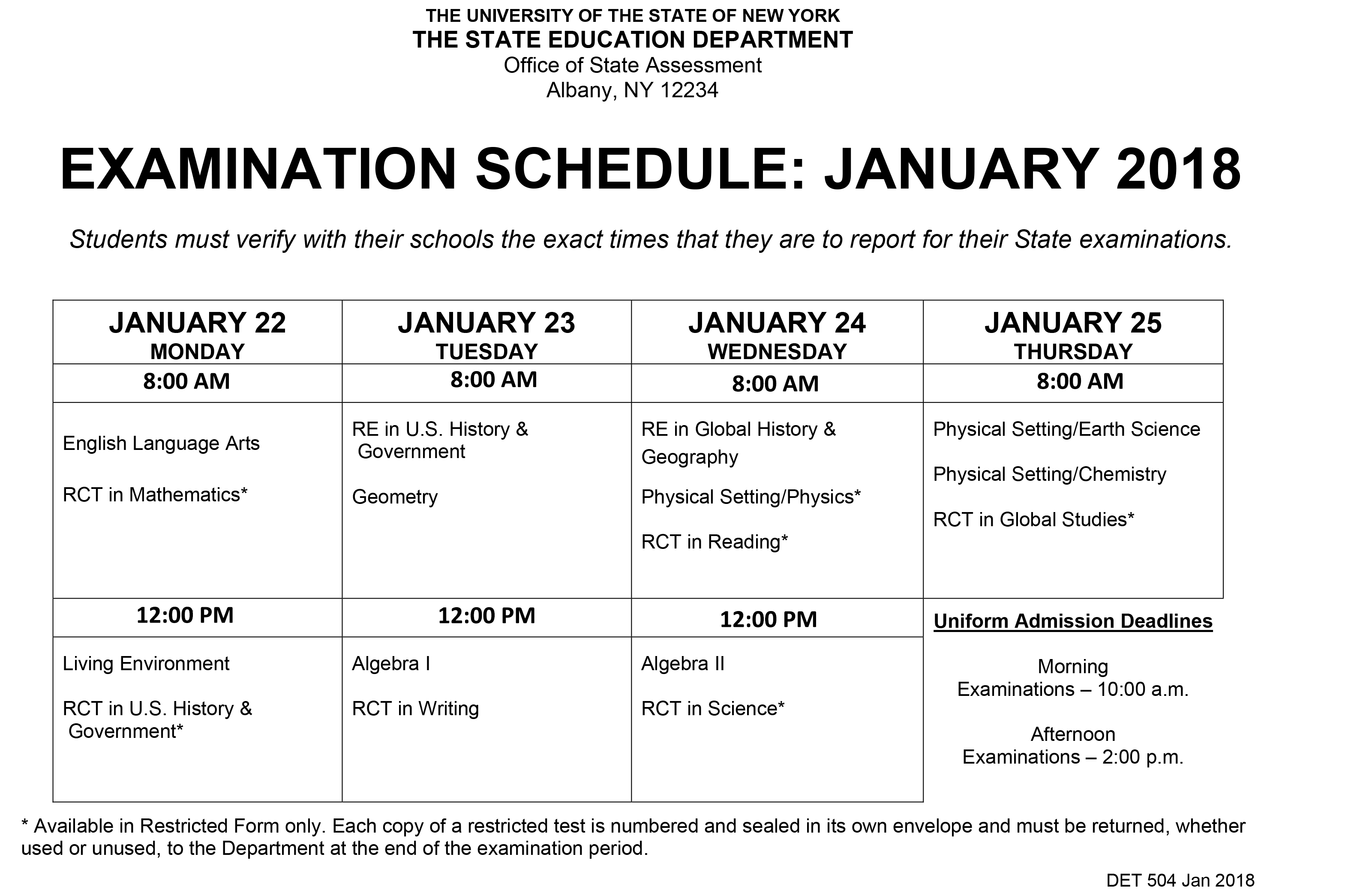 News detail page document is the schedule that is sent out from the new york state department of education regarding january regents exams xflitez Choice Image